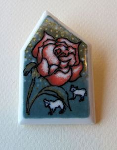 Arabia-Finland-Vintage-Flower-Rose-Ceramic-Brooch-Helja-Liukko-Sundstrom-1995