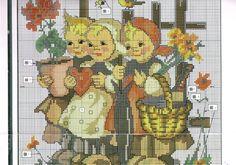 """Wee Three"" Hummel cross stitch pattern"