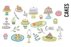 Cakes and Desserts Doodle Clipart by Pepper on @creativemarket