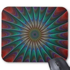 Peacock fractal mouse pad $12.10 *** peacock - colorful - repeating - fractal - curves - swirl - multicolor - design - geometric - concentric - stripes - twirl - color fractal - mousepad