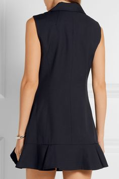 Goen J | Ruffled wool-twill mini dress | NET-A-PORTER.COM