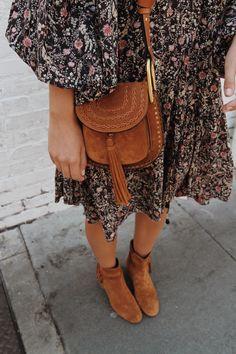 Doen dress, Chloe hudson bag & Gianvito Rossi moore suede boots. Via Mija