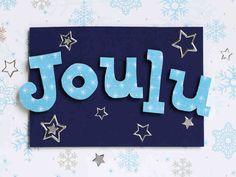 Huurteisen sininen joulukortti kohokirjaimin
