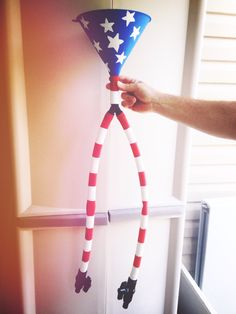 July fourth American flag beer funnel. Just paint and some tape for the stripes!! Didn't take too long- fun and creative for July 4th!!