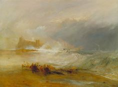 """lionofchaeronea: """"Wreckers- Coast of Northumberland, with a Steam-Boat Assisting a Ship off Shore, Joseph Mallord William Turner, 1833-34 """""""
