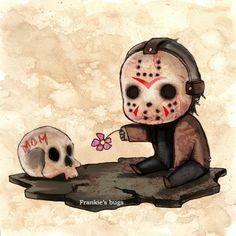 Little Jason, it's too early to be making me cry mate Horror Movie Characters, Horror Films, Arte Horror, Horror Art, Chibi, Memes Arte, Halloween Wallpaper, Jason Voorhees, Creepy Art