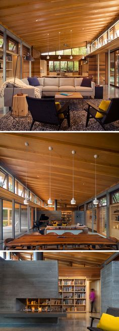 Stepping inside this modern house, the home opens up to the main living space that has a double-height wood ceiling, and is home to the kitchen, dining room, living room and textured fireplace. One of the main elements in this living space is the large locally sourced live edge Claro walnut table that measures 10 feet in length.