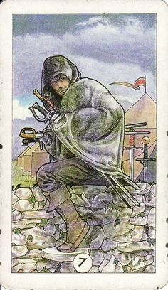 The 7 of Swords, from the Robin Wood Tarot by Robin Wood. http://www.life-plan-blog.com/2014/07/28/youve-got-4-1-1-now-what/