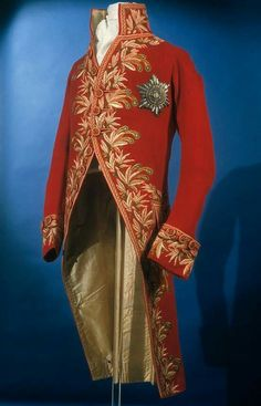 1805-1806 man's civil uniform coat. Wool tabby with silk embroidery.