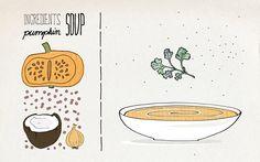Agenturküche: Suppe ist nicht gleich Suppe #illustration #rezept #food #kürbissuppe