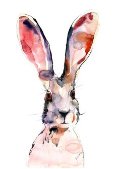 March Hare picture - digital watercolor print A4, A3, 8x11, 11x16. Wall art for hotel or home. Jackrabbit drawing. Watercolour picture.