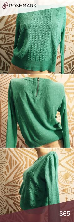 NWOT Thin summerweight turquoise Pinkyotto sweater This Pinkyotto sweater is just dreamy! Several different knits on front, piqué knit on back and sleeves, and check out the sides under the arms! A rare sample sale piece from luxe NYC boutique Pinkyotto. Size Small, best on a size 2-4. Mannequin's measurements are 33-25-35. Pinkyotto Sweaters Crew & Scoop Necks