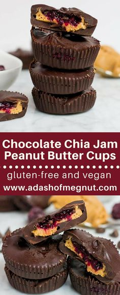 Is there anything better than biting into a chocolate peanut butter cup filled with a luscious mixed berry chia jam? I think not! This quick and easy no-bake dessert comes together with simple ingredients and is ready in under an hour. There is minimal pr Easy No Bake Desserts, Vegan Dessert Recipes, Gluten Free Desserts, Candy Recipes, Dairy Free Recipes, Cookie Recipes, Delicious Desserts, Drink Recipes, Yummy Recipes