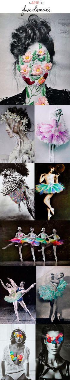 Jose Romussi seleciona cliques famosos de moda, espetáculos de dança e retratos gerais e trabalha essas imagens com bordados tridimensionais feitos à mão.