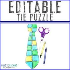 EDITABLE Tie Puzzle - Great to create your own Father's Day Activity! | 1st, 2nd, 3rd, 4th, 5th, 7th, 8th grade, Activities, English Language Arts, Fun Stuff, Games, Holidays/Seasonal, Homeschool, Math, Middle School