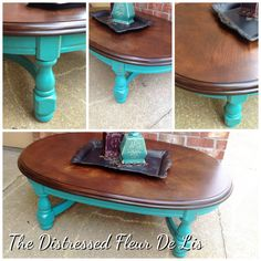 Upcycled coffee table painted in General Finishes Patina Green and stained with Java Gel stain.
