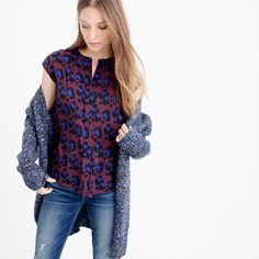 {Silk blouse in cobalt leopard}