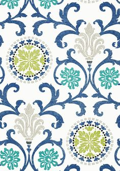 Thibaut Banyan fabric & matching wallpaper, Caravan collection