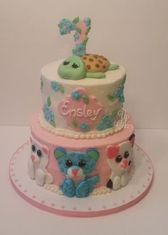 Beanie Boos cake. Covered in American Buttercream with fondant decorations and accents