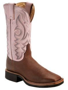 Justin AQHA Teal Stitched Cowgirl Boots - Square Toe available at #Sheplers