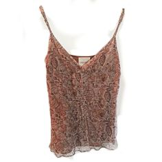 Ambercrombie & Fitch Tank Top Cami Spaghetti Strap Shirt Brown Boho Small Floral #AmbercrombieFitch #TankCami #Casual