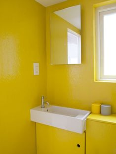 Bathroom @ Bethnal Green, London — The Modern House former carpenter's workshop was transformed into a bespoke multi-level living space by Studiomama in *yellow! Yellow Bathroom Decor, Yellow Bathrooms, Bathroom Wall Decor, Bathroom Rack, Bathroom Goals, Small Bathroom, Bathroom Ideas, Bethnal Green, Interior Minimalista