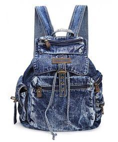 Women s And Girl s Denim Backpack School Bag Travel Bag Shoulder Bag -  style05-Dark Blue ba9afcd63d637