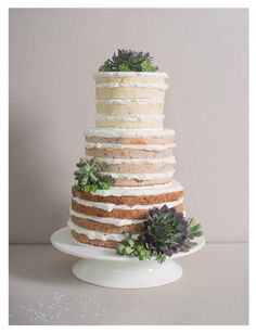 Naked layered wedding cake decorated with succulents. Lovely.