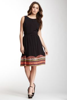 Multicolor Embroidery Belted Dress