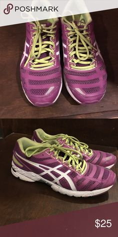 Womens neon green and purple gel ds trainer Purple and neon green  gel ds trainer Asics Womens size 10 running shoe Asics Shoes Sneakers