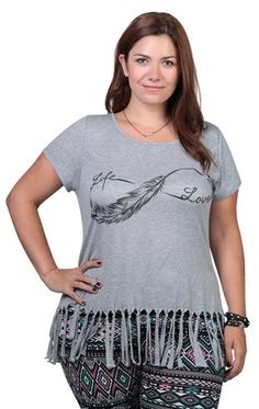 Plus Size Infinity Feather Screen Tee with Fringe