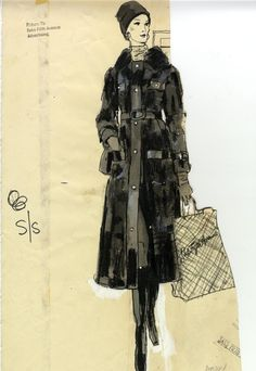 New School Archives: Digital Collections: Drawing/Painting/Print: Woman in Long Coat with Saks Fifth Avenue Shopping Bag [KA002201_OSxx3_f10_04]