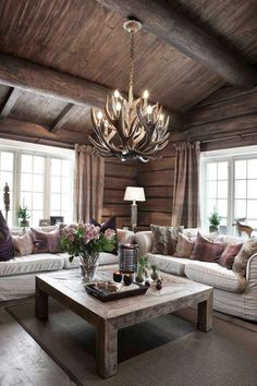 ✔ 69 best house interior design to transfrom your house 60 ~ anaksehat. Log Home Interiors, Cottage Interiors, Lake Cabin Interiors, Cabin Homes, Log Homes, Mountain House Decor, Cabin Interior Design, Cabin Chic, Living Room Inspiration
