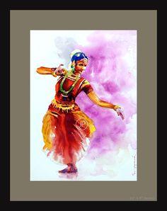 Dance Paintings, Indian Art Paintings, Acrylic Paintings, Watercolor Paintings, Watercolor Dancer, Watercolor Flowers, Deviantart Drawings, Kerala Mural Painting, Dancing Drawings