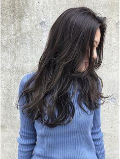Dark Hair With Highlights, Lavender Blue, Permed Hairstyles, Hair Designs, Salons, Aqua, Hair Beauty, Long Hair Styles, Aoyama