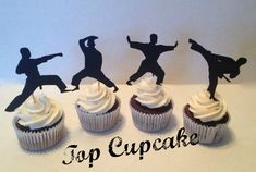 Martial Arts Silhouette Cupcake Toppers -12