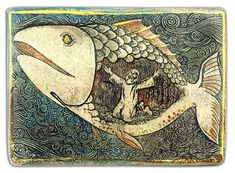Jonah and the whale painting Ceramic Wall Art, Fish Art, Painting, Whale Painting, Biblical Art, Art, Jonah And The Whale, Medieval Paintings, Sacred Art