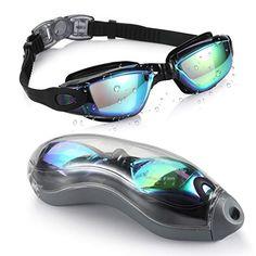 ce3ff730ae Aegend BLACK MIRRORED  Swimming Goggles No Leaking Anti Fog UV Protection  Triathlon Swim Goggles Mirrored