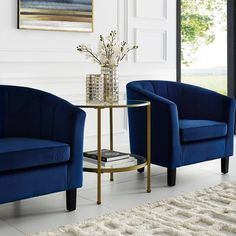 Crosley Furniture Aimee Gold Metal and Glass Side Table Glass Top End Tables, End Tables With Storage, Large Furniture, Living Room Furniture, Swivel Club Chairs, Sofa Tables, Living Room Designs, Steel Frame, Home