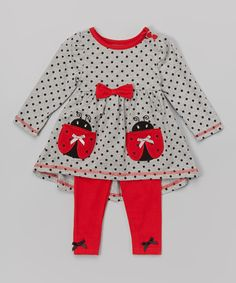 Gray Ladybug Tunic & Leggings - Infant, Toddler & Girls