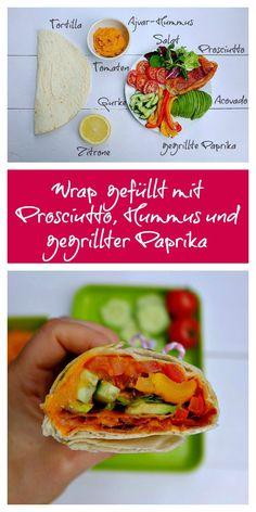 Dieser Wrap ist gefüllt mit knusprigen Proscuitto, einem Hummus mit Ajvar, gegrillter Paprika und anderem leckeren Gemüse. Ein tolles Mittagessen im Büro!