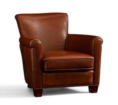 Irving Leather Armchair | Pottery Barn in Bourbon!  Now decide, 3 chairs & 1 recliner in group? 1 recliner & 1 chair & 2 swivels (swivels dont tilt)? in front of fireplace in cozy/small family room