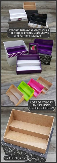 The perfect way to organize or display your products. Use at vendor events, craft shows & farmers markets. Also perfect for stacking salon and spa products or for organizing craft supplies. Norwex Vendor Display, Vendor Displays, Craft Booth Displays, Display Ideas, Booth Ideas, Soap Display, Vendor Table, Vendor Booth, Craft Organization