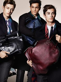Cashmere scarves and The St Ives bag in signature grainy leather – men's accessories from the Burberry Autumn/Winter 2014 campaign