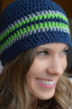 Seattle Seahawks Super Bowl Men's Women's Child Toddler Beanie Cap Blue Green and Grey Gray Fan Man Crochet Hat Crochet Beanie Pattern, Crochet Cap, Crochet Patterns, Hat Hairstyles, Beanie Hats, Beanies, Green And Grey, Navy Green, Crochet Projects