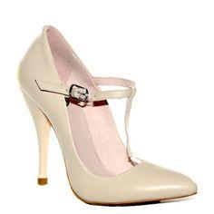 @Decolte in pelle color avorio con cinturino a T di #Fornarina > http://www.tentazioneshop.it/scarpe-fornarina/decollete-8664-skin-fornarina.html