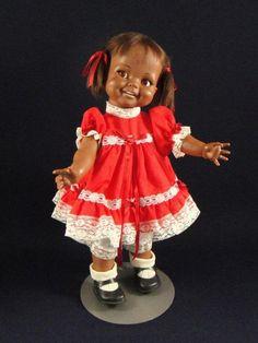 "Vintage 1966 Ideal BLACK GIGGLES Flirty Eye 18"" Doll w/ Red Polka Dot Dress"
