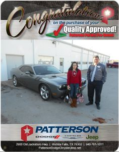 Congratulations Elizabeth Gilbert on your new Challenger RT! -From David Reece at Patterson Dodge Chrysler Jeep!