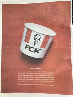 "Andrew Bloch pe Twitter: ""KFC apologises with a full page ad in today's Metro. A masterclass in PR crisis management. #KFCCrisis… """