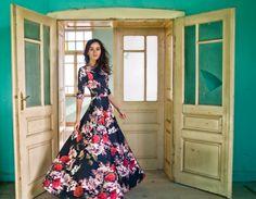 Maxi circular skirt flower print dress